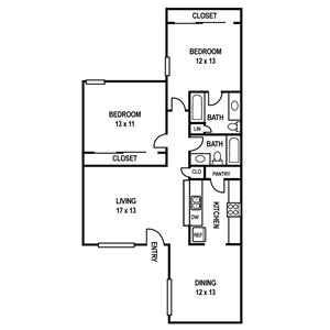 Floor Plan B2 at Sedona Ranch Apartments in Dallas, Texas, TX
