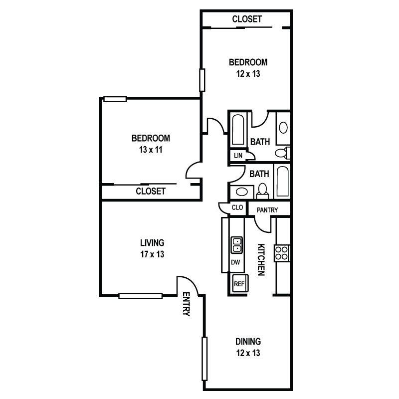 Floor Plan B2 at Sedona Ranch Apartments in Dallas, Texas, TX