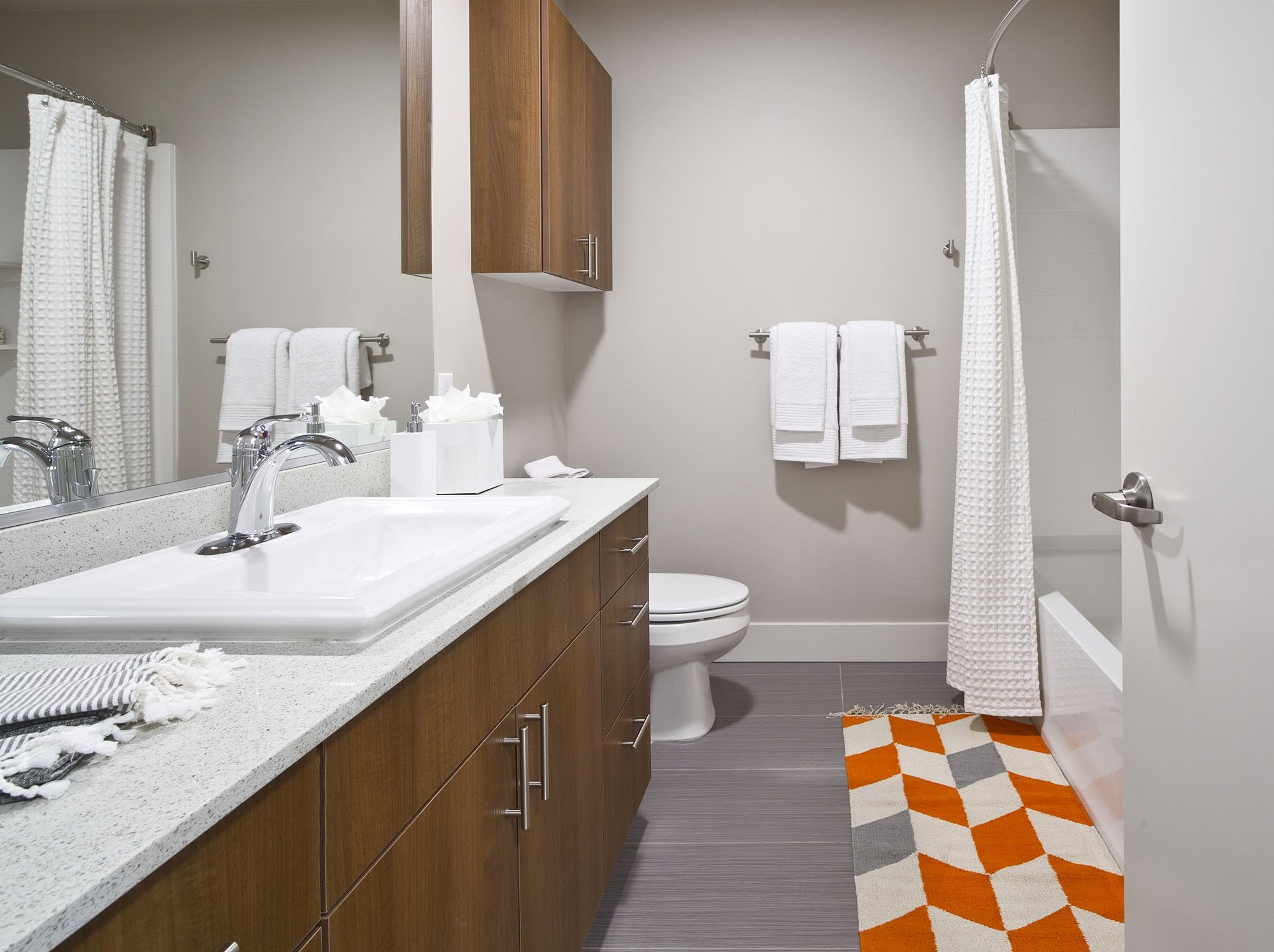 Beautifully Tiled Bathrooms at Astro Apartments, Seattle, WA,98109