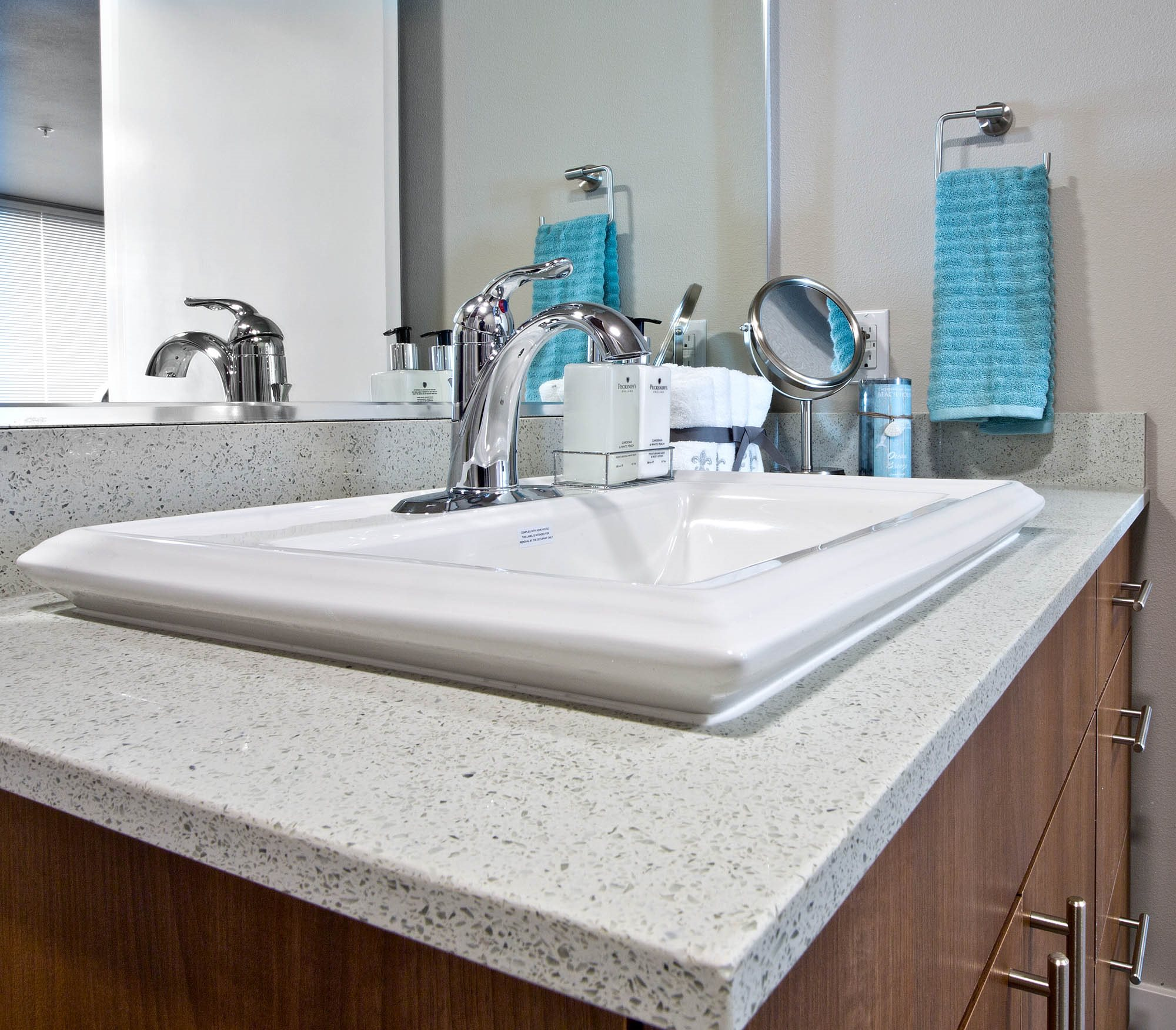 Designer Granite Countertops in all Bathrooms at Astro Apartments, Seattle, WA,98109