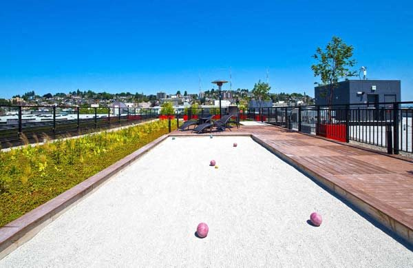 Rooftop Bocce Court at Astro Apartments, Seattle, WA,98109