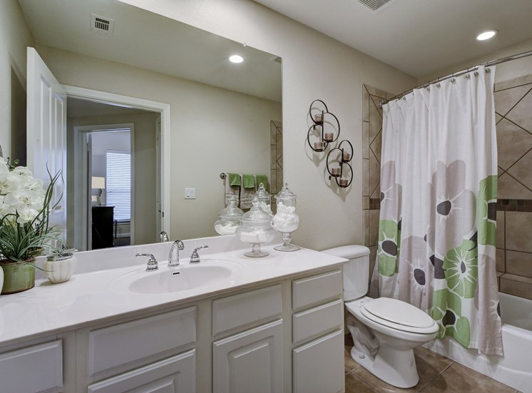 Bathroom Shower and Sink at Nalle Woods Apartments in Austin, Texas