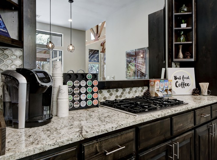 Coffee from the Cafe at Nalle Woods Apartments in Austin, Texas