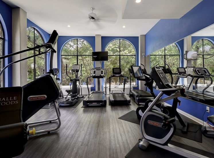Fully-Equipped Fitness Center at Nalle Woods Apartments in Austin, Texas
