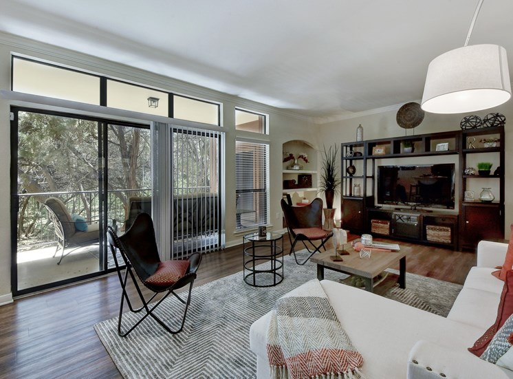Living Room Interior at Nalle Woods Apartments in Austin, Texas