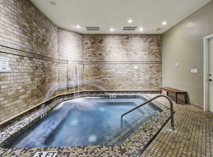 Spa Room With Pool Seating at Nalle Woods Apartments in Austin, Texas