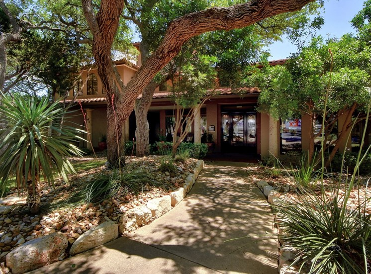 Walkway at Nalle Woods Apartments in Austin, Texas