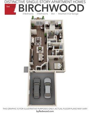 Birchwood- 2 Bed, 2 Bath, Den, 2-Car Garage