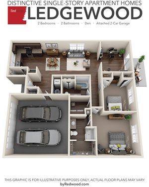 Ledgewood 2 Bed, 2 Bath, Den, 2-Car Garage