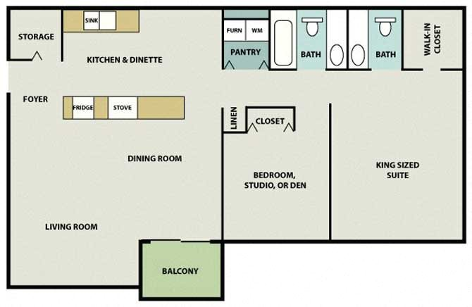 Two Bed, One  A Half Bath Brookside Floor Plan 3
