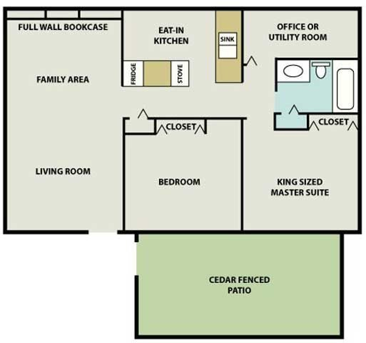 Two Bed One Bath Parkside Floor Plan 8