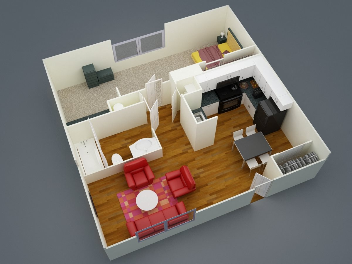 One Bed | One Bath Floor Plan 1