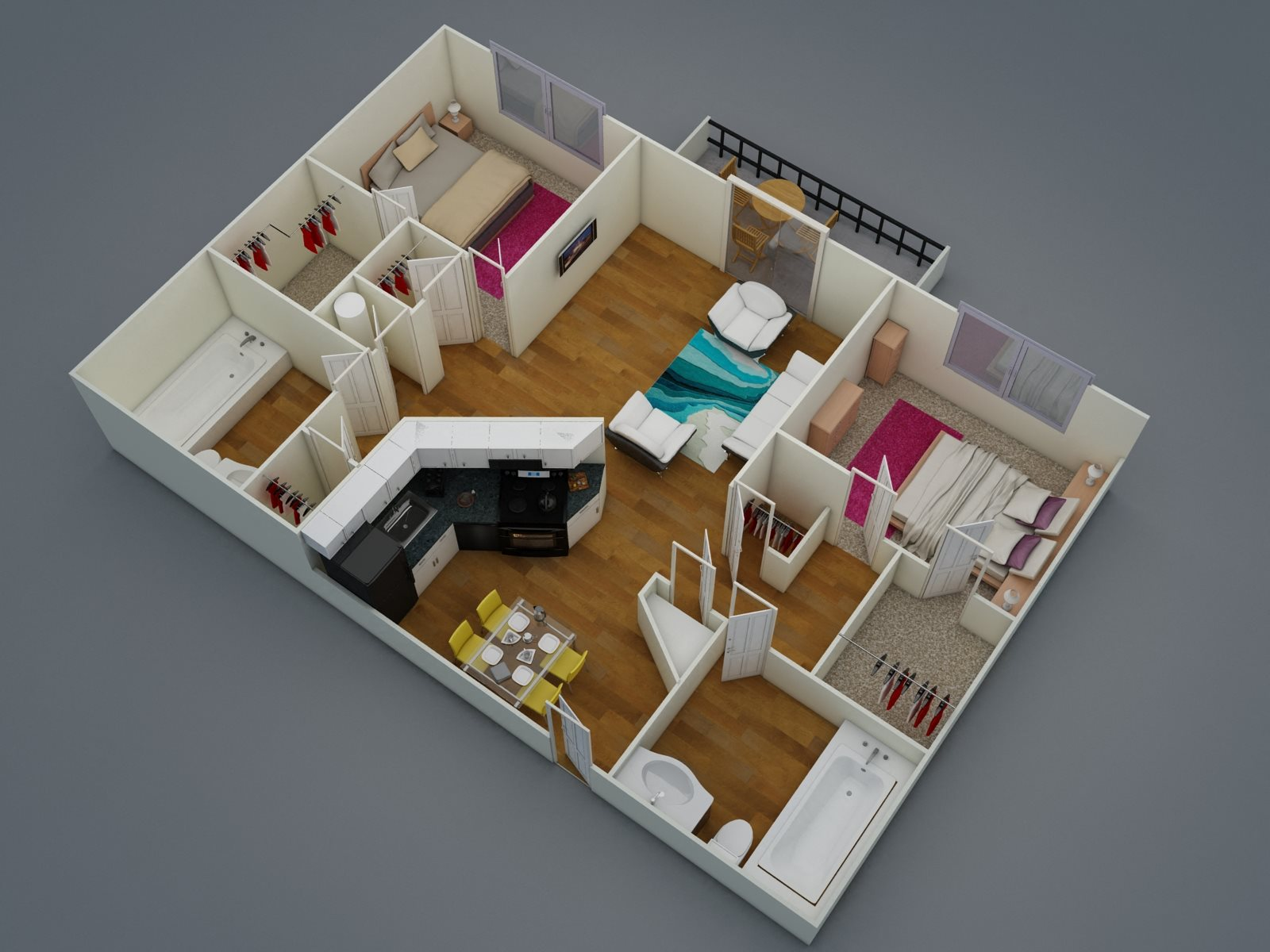 Two Bed - Two Bath Floor Plan 2