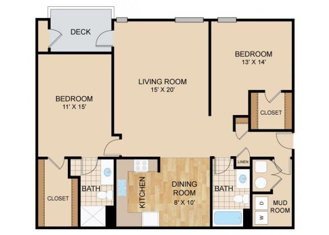 2 Bed 2 Bath Floor Plan at Briar Hills, Omaha, 68118