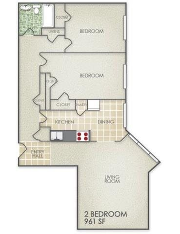 2 Bedroom Floor Plan 9