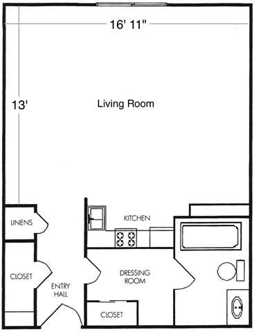 Studio Unit A2 Floor Plan 2