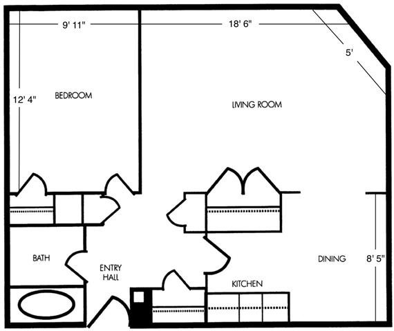 Large 1 Bedroom Unit B2 Floor Plan 8
