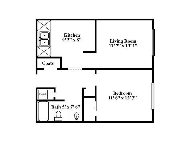 Small One Bed Floor Plan 1