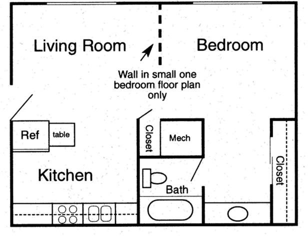 1 bedroom - A Floor Plan 2