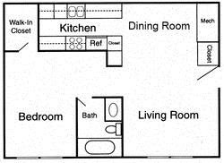 1 bedroom - B Floor Plan 3