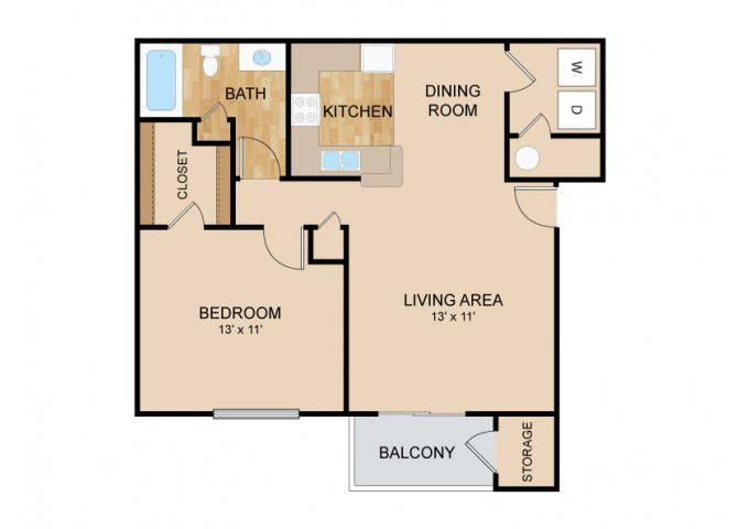 1 Bedroom 1 Bath Floor Plan, at Tiburon View Apartments, 16895 Oakmont Dr, Omaha, 68136