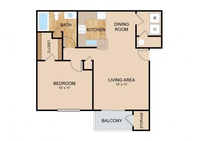 1 Bedroom_1 Bath Floor Plan, at Tiburon View Apartments, 16895 Oakmont Dr, Omaha, Nebraska