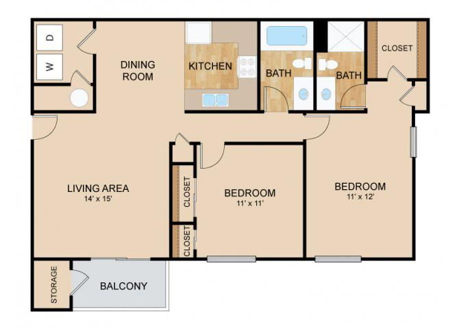 2 Bedroom  2 Bath Floor Plan, at Tiburon View Apartments, Omaha, NE 68136