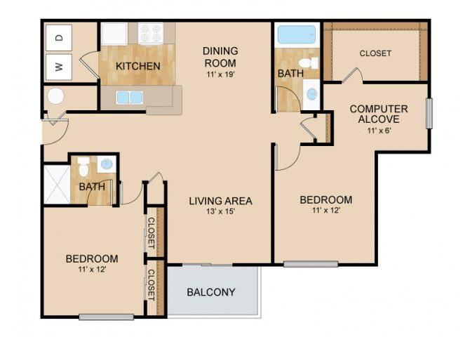 2 Bedroom  2 Bath Floor Plan, at Tiburon View Apartments, 16895 Oakmont Dr, Omaha