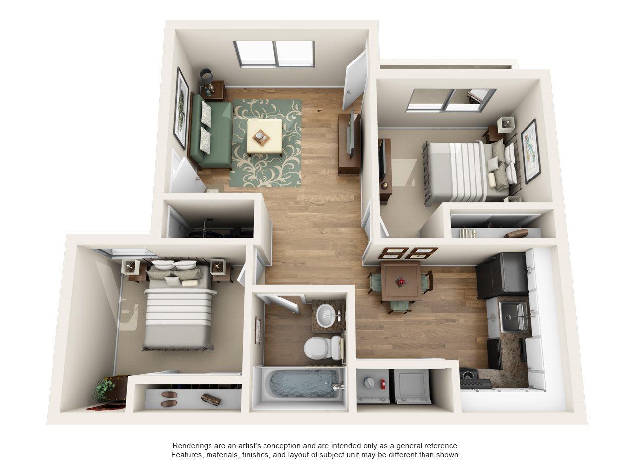Heritage Pointe Apartment Homes - 2 Bedroom 1 Bath Apartment