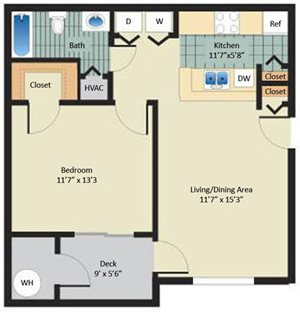 1 Bed 1 Bath Layout at Stewards Crossing Apartments in Lawrenceville, NJ