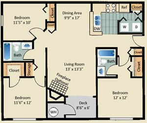 3 Bed 2 Bath Layout at Stewards Crossing Apartments in Lawrenceville, NJ