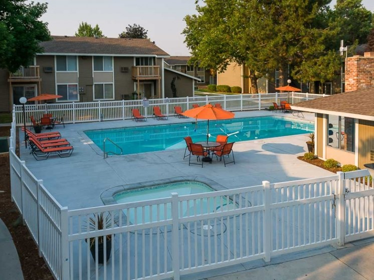 sparkling pool area at Central Pointe Apartments in Boise ID