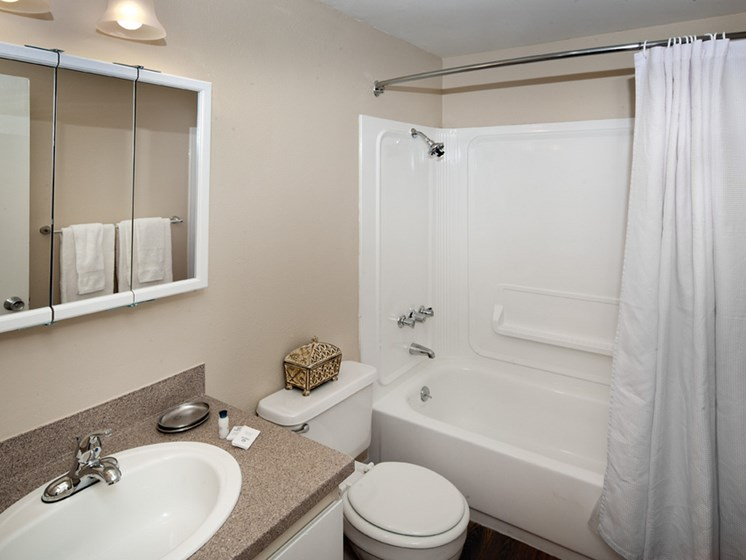Bathroom with tub at Central Pointe Apartments in Boise ID