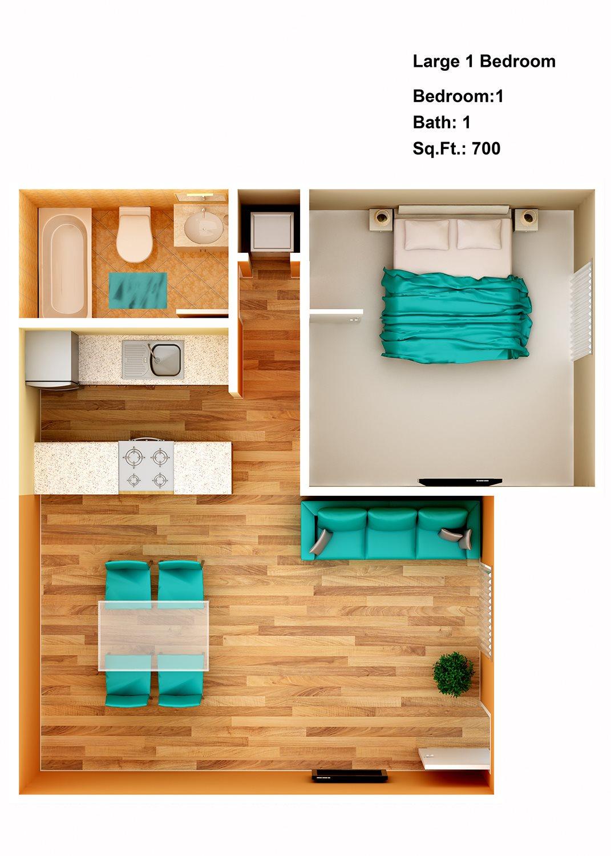 Large 1 Bedroom Floor Plan 4
