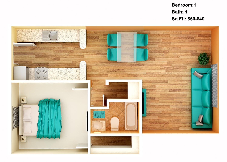 1 Bedroom + 1 Bath Floor Plan 2