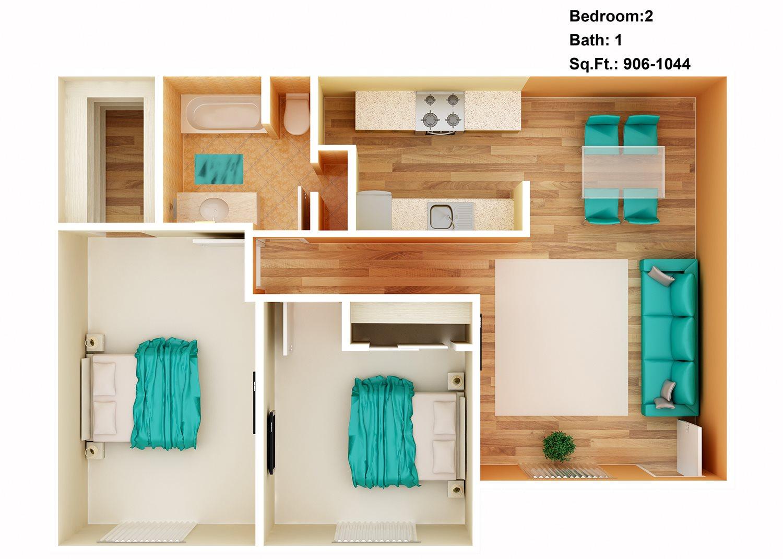 2 Bedroom, 1 Bath Floor Plan 5