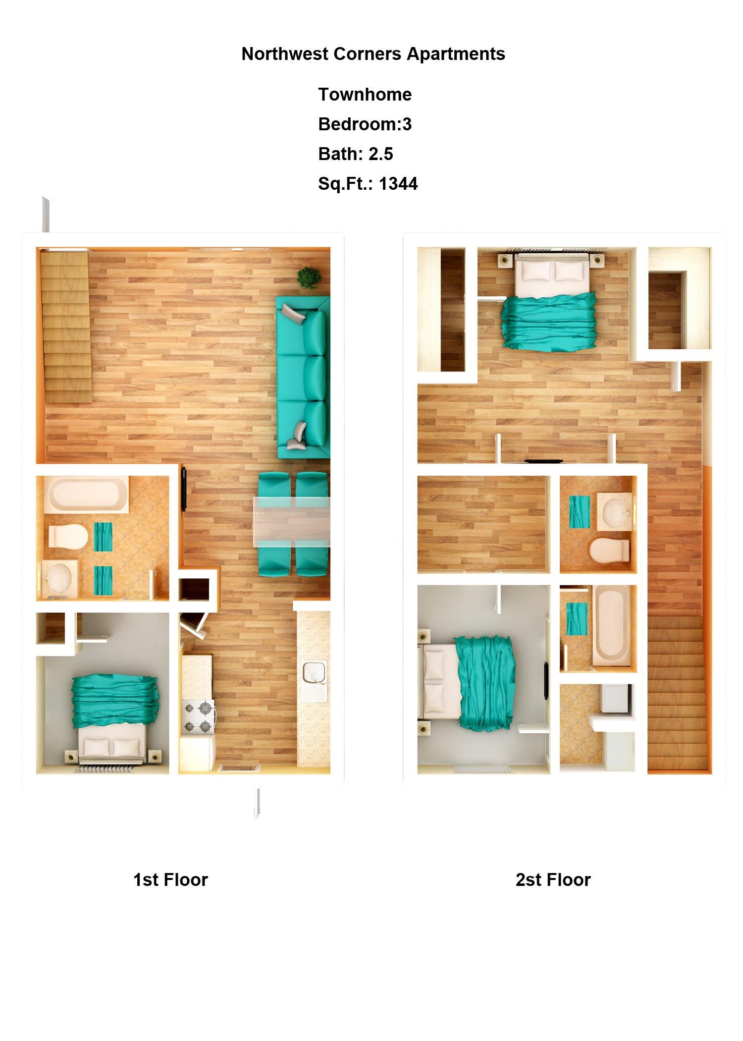 Townhome - 3 Bedroom, 2 Bath Floor Plan 6