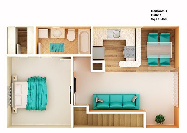 1 Bedroom Upstairs Floor Plan 3
