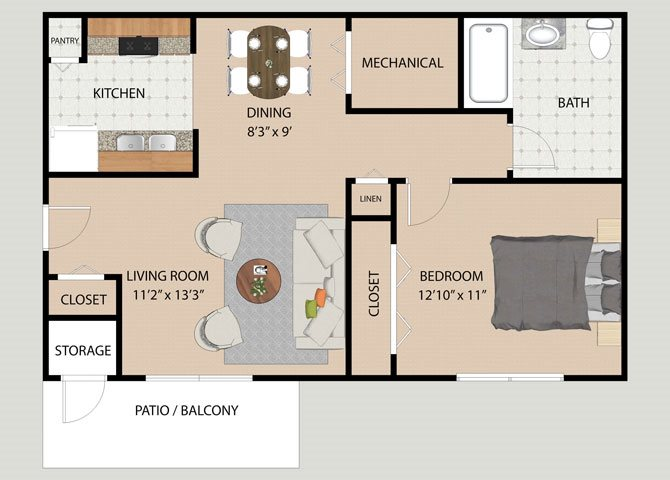 One Bedroom One Bath Floor Plan at Covington Square