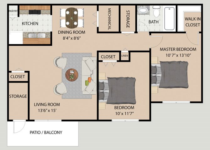 Two Bedroom Two Bathroom Floor Plan at Covington Square