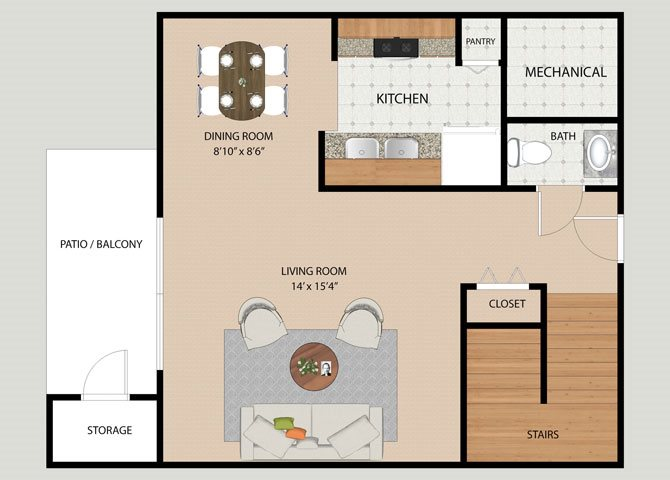 Three Bedroom 1.5 Bathroom Floor Plan at Covington Square