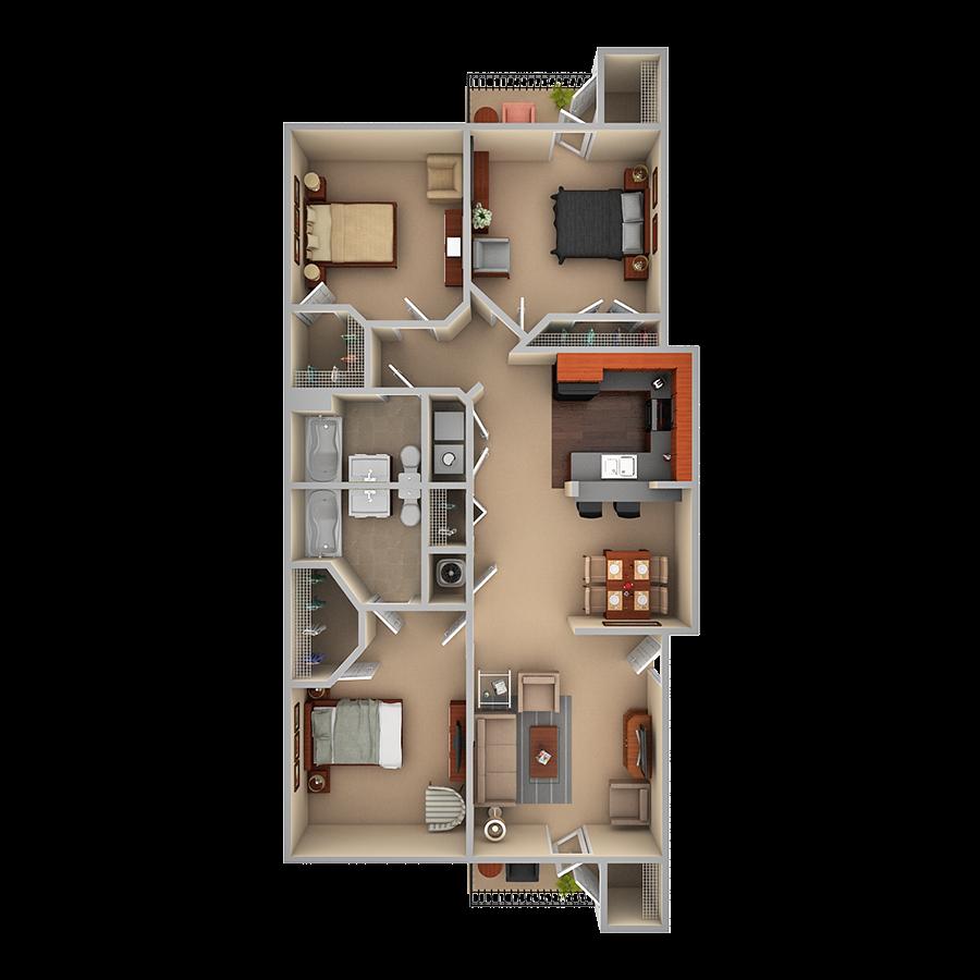 3 Bedroom Floor Plan 3