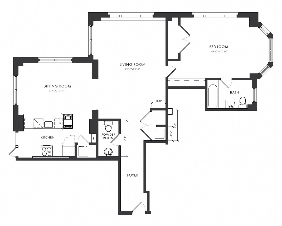 Residence A - 1 Bedroom Executive Floor Plan 2