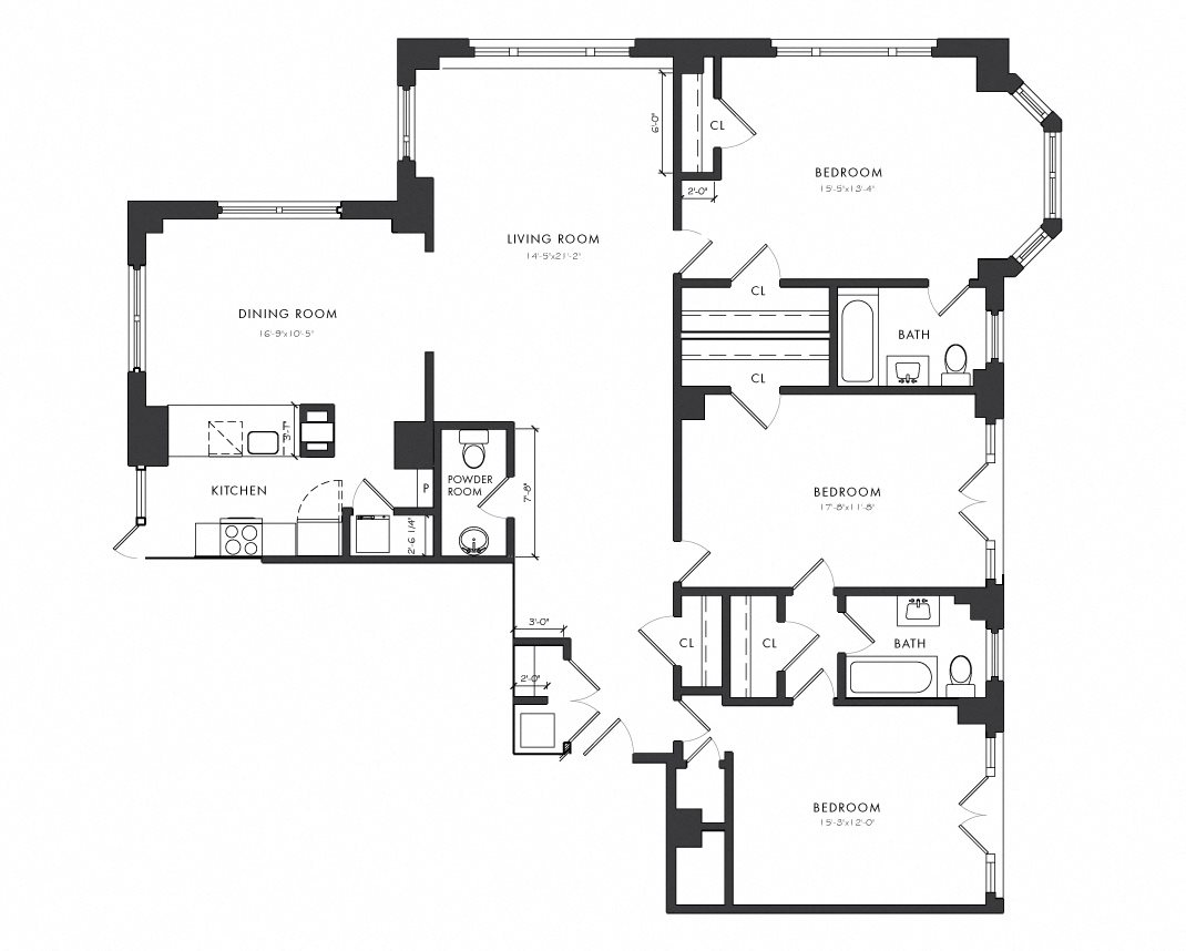 Residence A - 3 Bedroom Executive Floor Plan 9