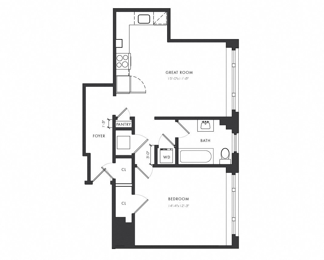 Residence A1 - 1 Bedroom Junior Floor Plan 3