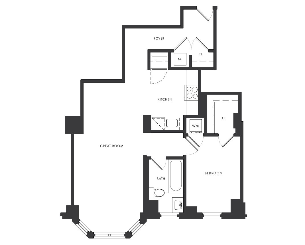 Residence B1 - 1 Bedroom Floor Plan 2