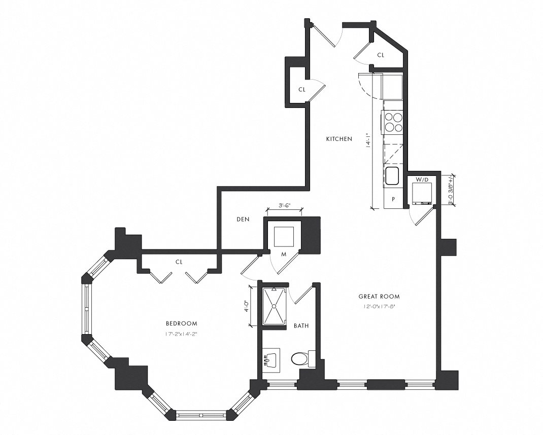 Residence E - 1 Bedroom Delux Floor Plan 5
