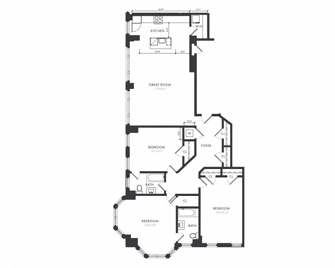 Residence E - 3 Bedroom Executive Floor Plan 4