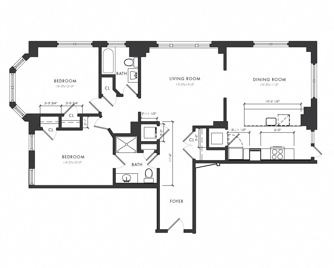 Residence F - 2 Bedroom Executive Floor Plan 8
