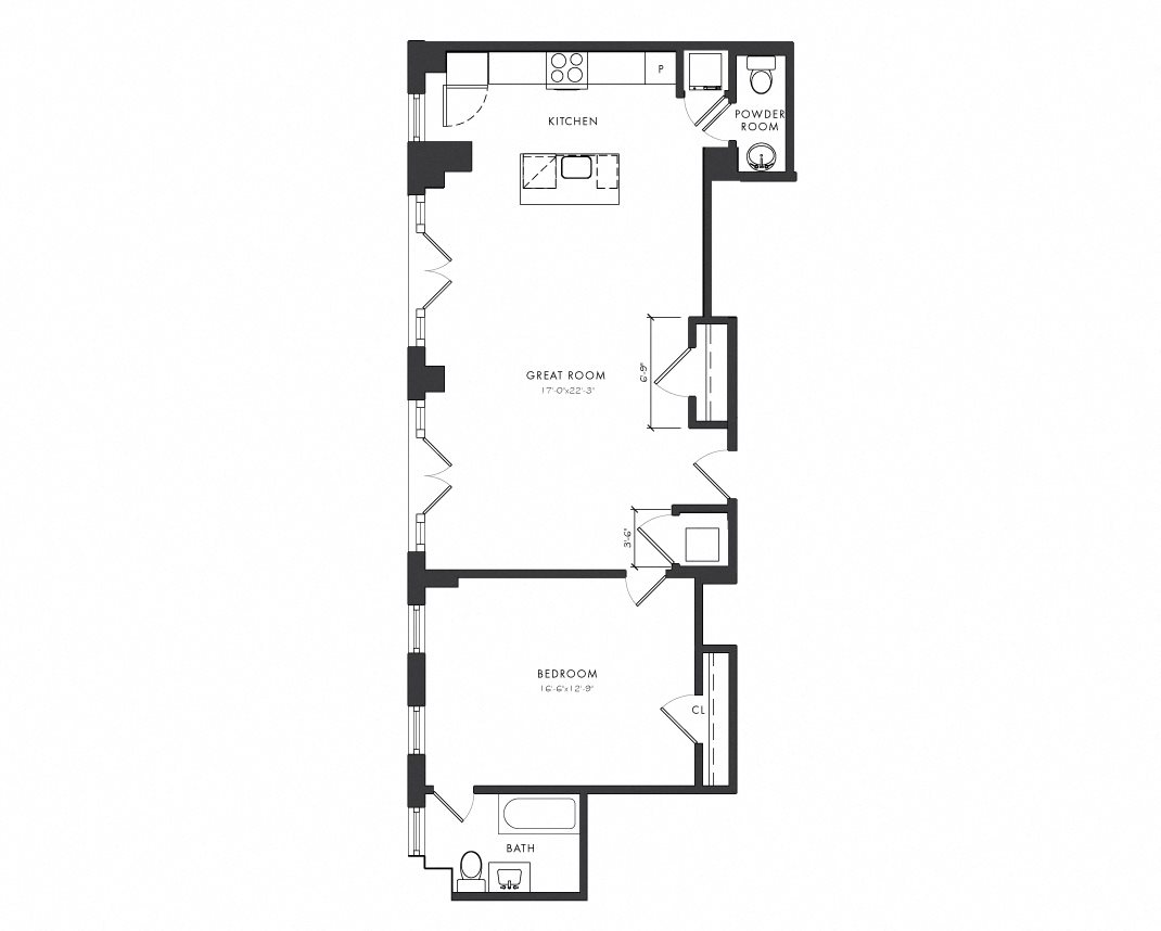 Residence G - 1 Bedroom Premium Floor Plan 3